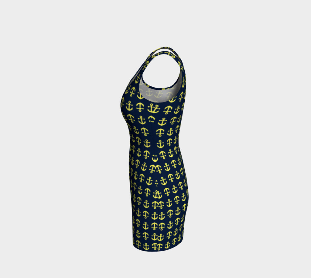 Anchor Toss Bodycon Dress - Yellow on Navy - SummerTies
