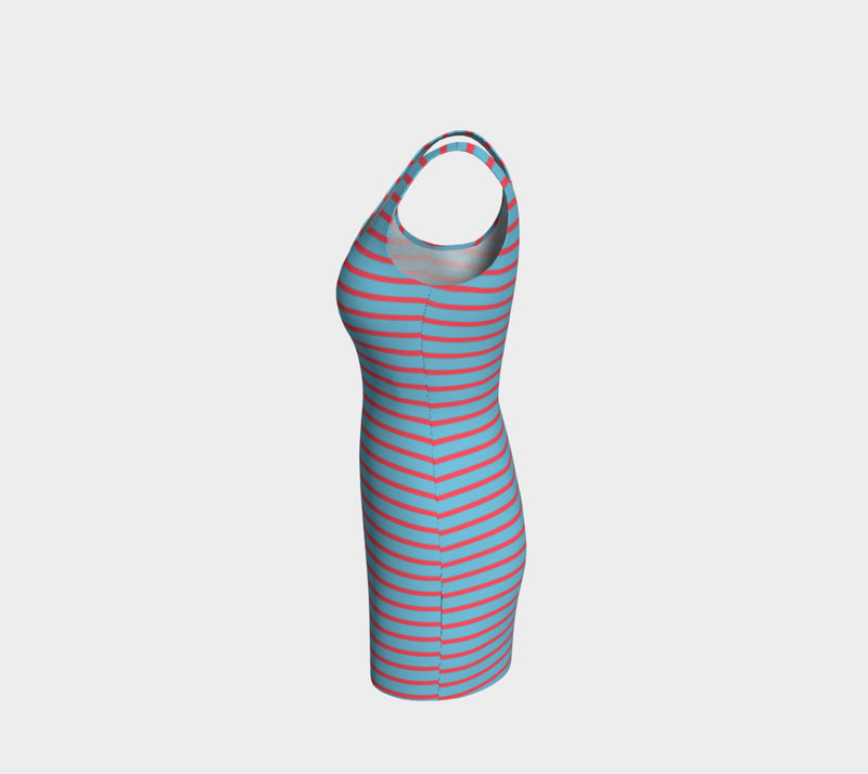 Striped Bodycon Dress - Darker Coral on Light Blue - SummerTies