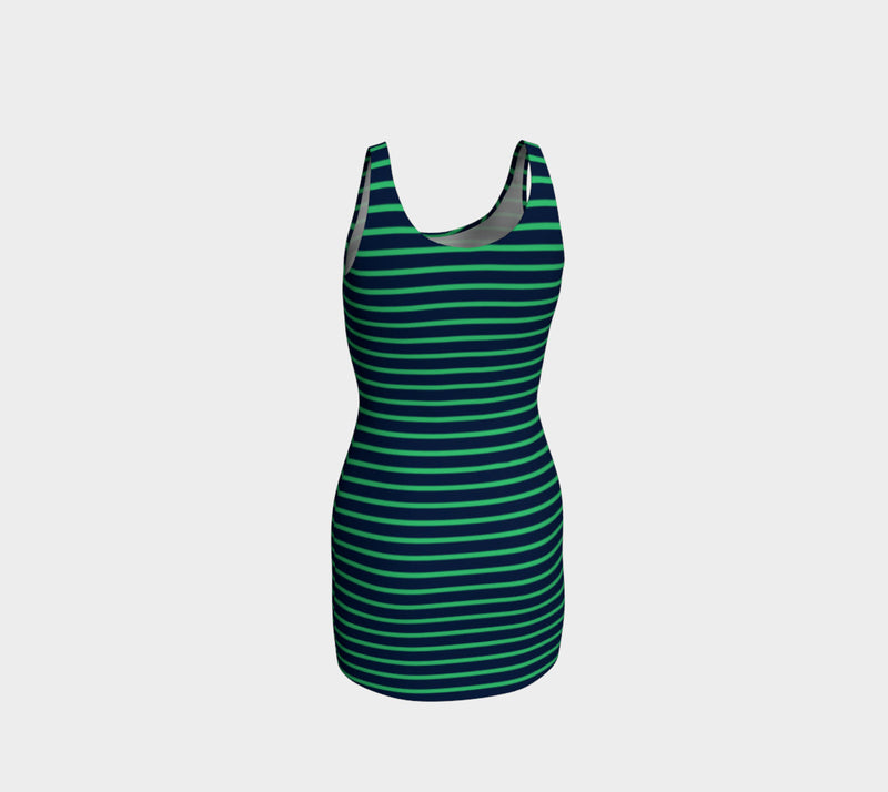 Striped Bodycon Dress - Green on Navy - SummerTies