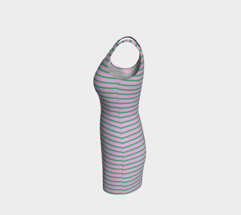 Striped Bodycon Dress - Green on Light Pink - SummerTies