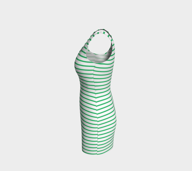 Striped Bodycon Dress - Green on White - SummerTies