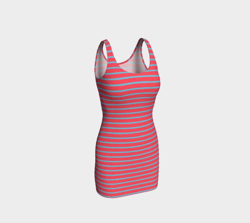 Striped Bodycon Dress - Light Blue on Darker Coral - SummerTies