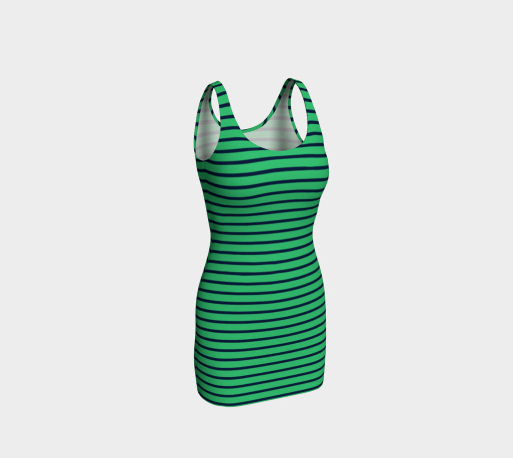 Striped Bodycon Dress - Navy on Green