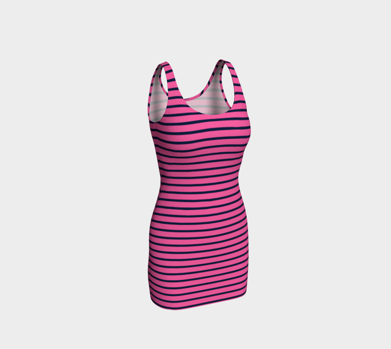 Striped Bodycon Dress - Navy on Pink - SummerTies