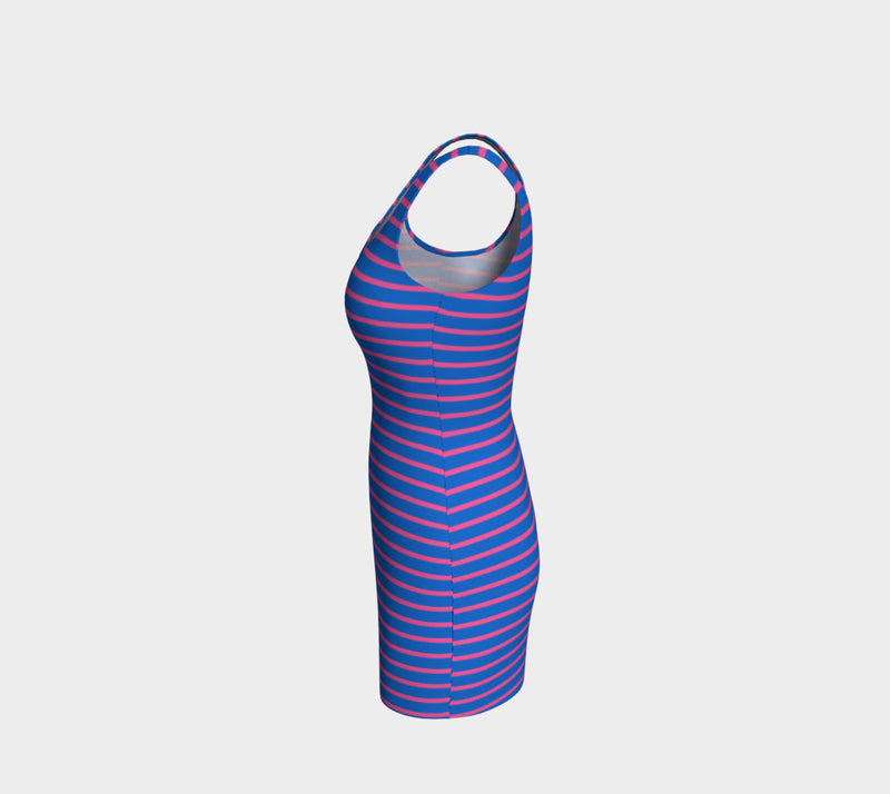 Striped Bodycon Dress - Pink on Blue - SummerTies
