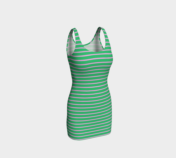 Striped Bodycon Dress - Light Pink on Green - SummerTies