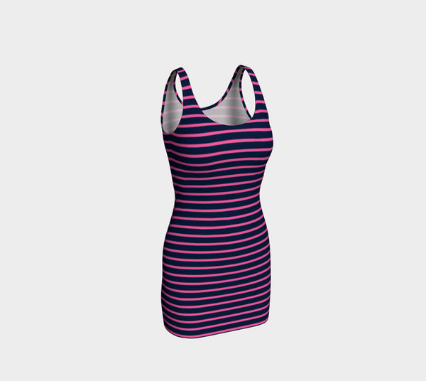 Striped Bodycon Dress - Pink on Navy - SummerTies