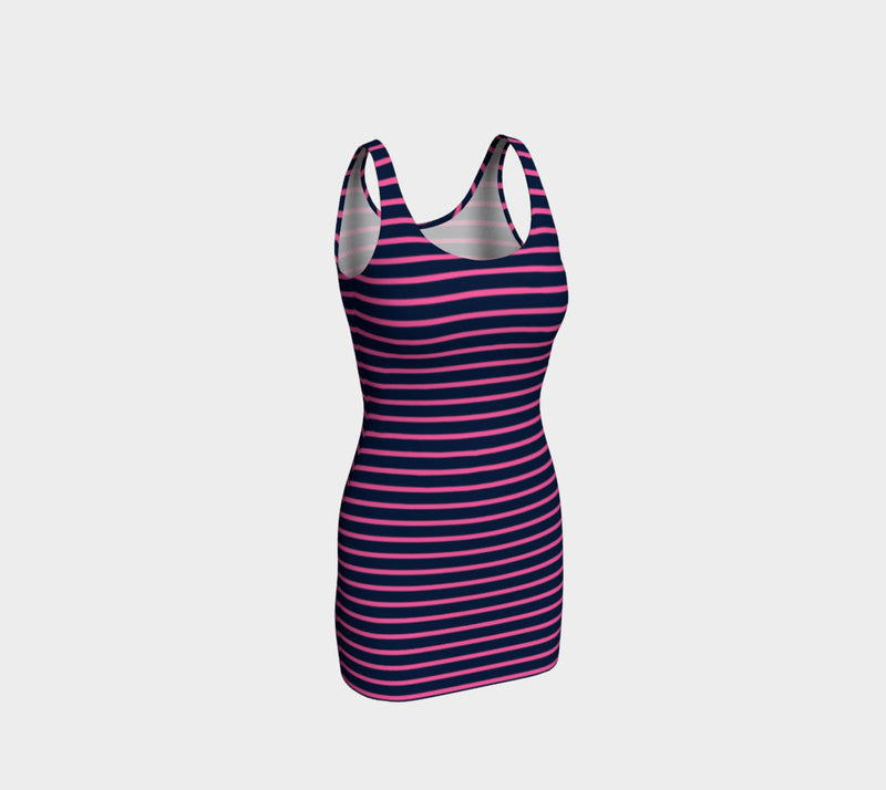 Striped Bodycon Dress - Pink on Navy