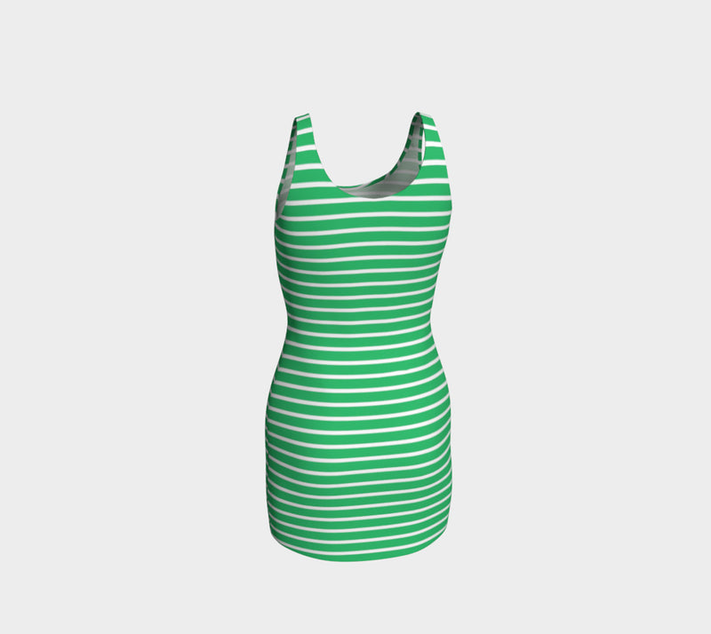 Striped Bodycon Dress - White on Green - SummerTies