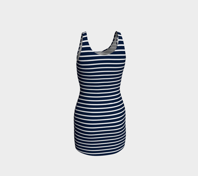 Striped Bodycon Dress - White on Navy - SummerTies