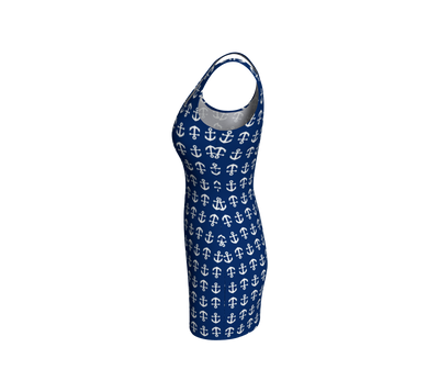 Anchor Toss Bodycon Dress - Navy - SummerTies