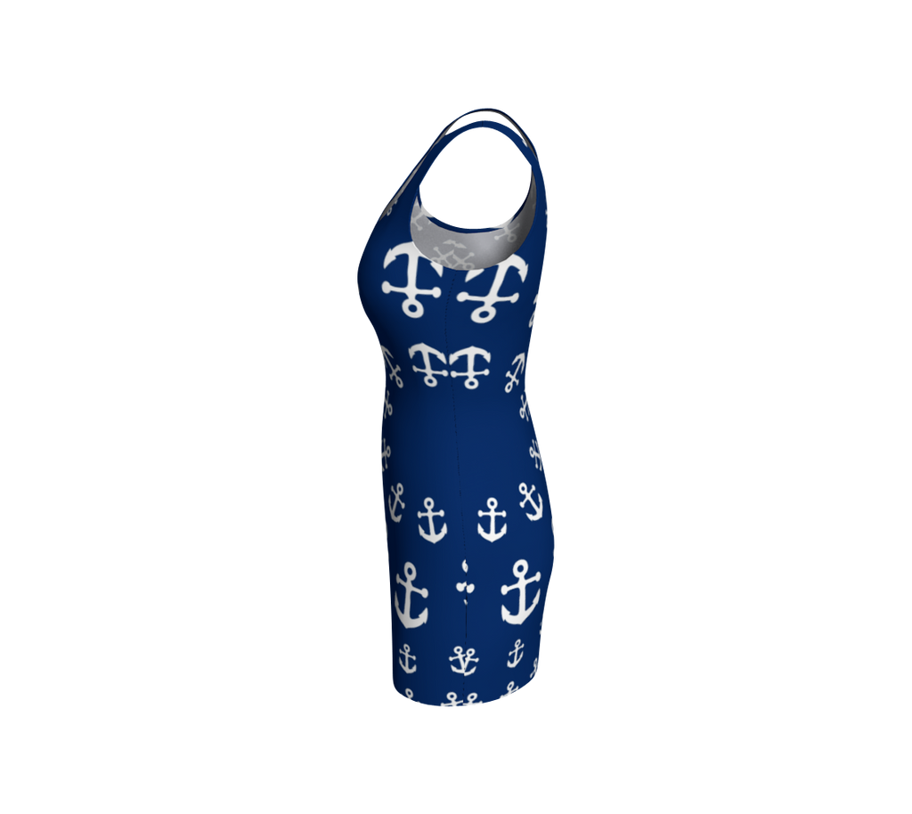 Anchor Pinwheel Bodycon Dress - Navy - SummerTies