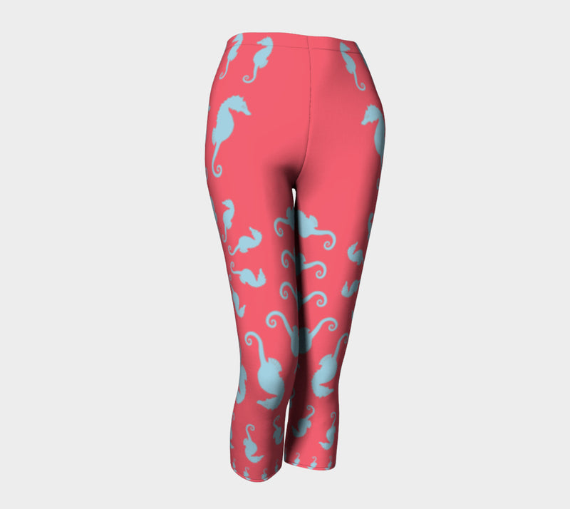 Seahorse Adult Capris - Light Blue on Coral - SummerTies