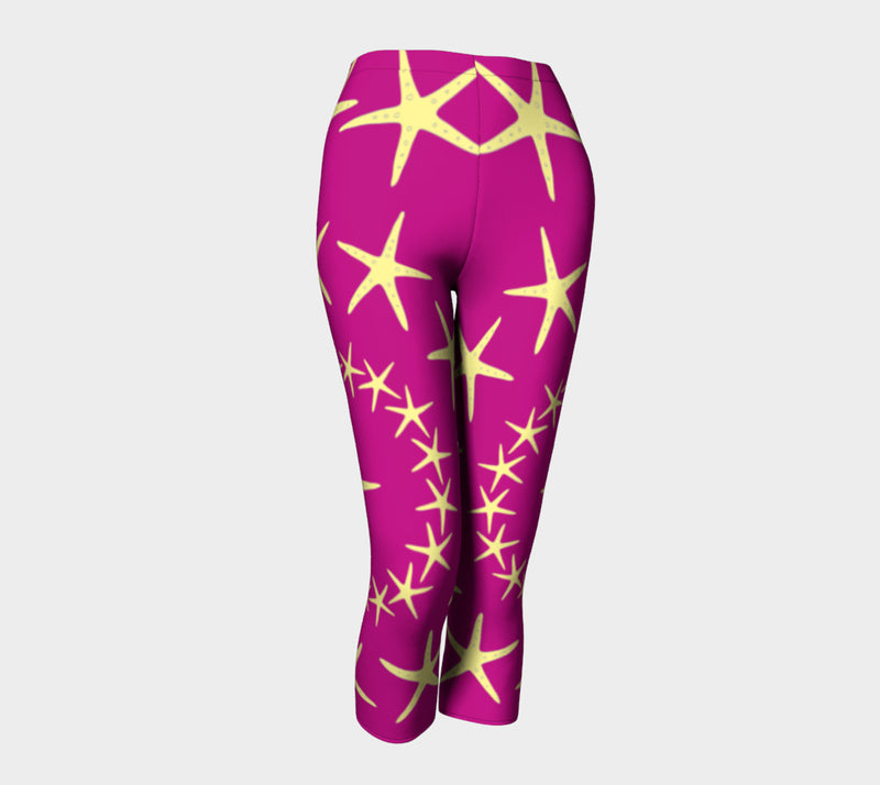 Starfish Adult Capris - Yellow on Pink - SummerTies