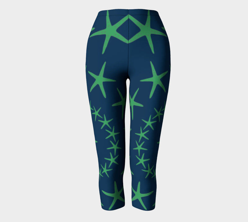 Starfish Adult Capris - Green on Navy - SummerTies