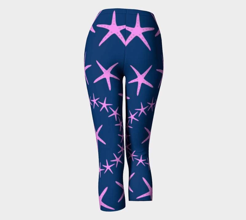 Starfish Adult Capris - Pink on Navy