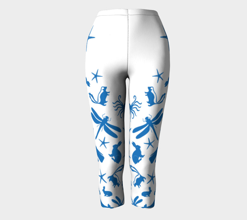 Multi Creature Adult Capris - Blue on White - SummerTies