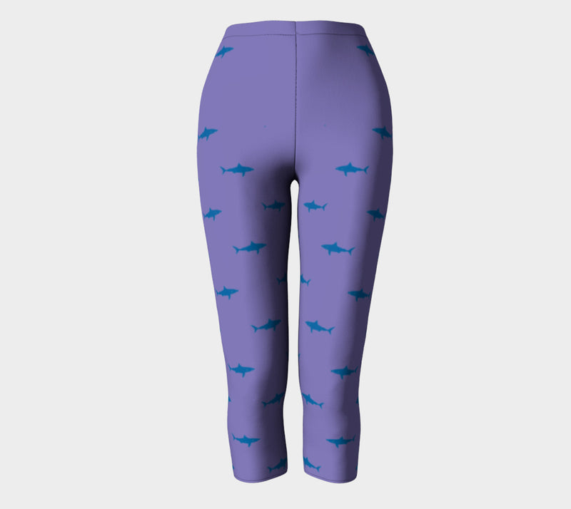 Shark Adult Capris - Blue on Purple - SummerTies