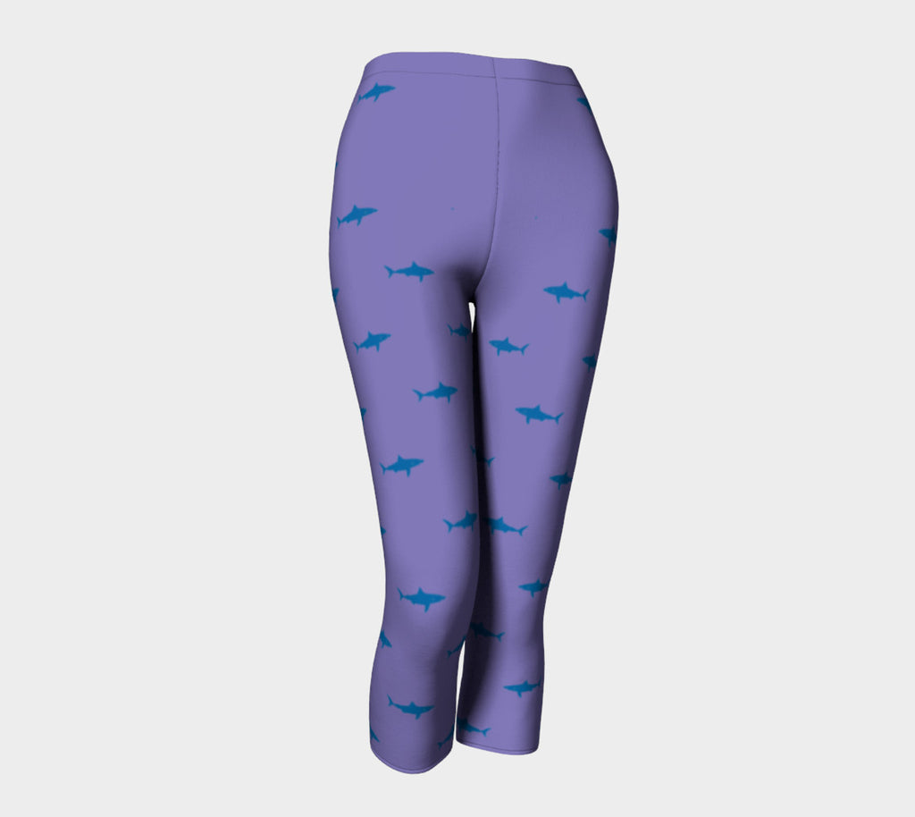 Shark Adult Capris - Blue on Purple