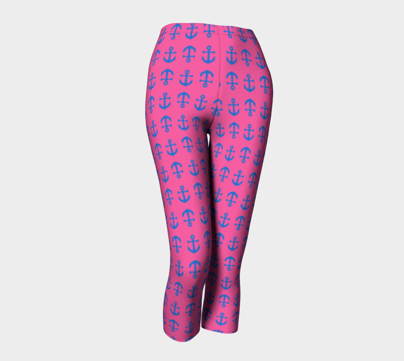 Anchor Toss Adult Capris - Blue on Pink - SummerTies
