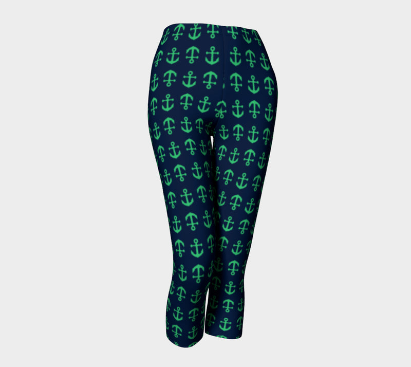 Anchor Toss Adult Capris - Green on Navy - SummerTies