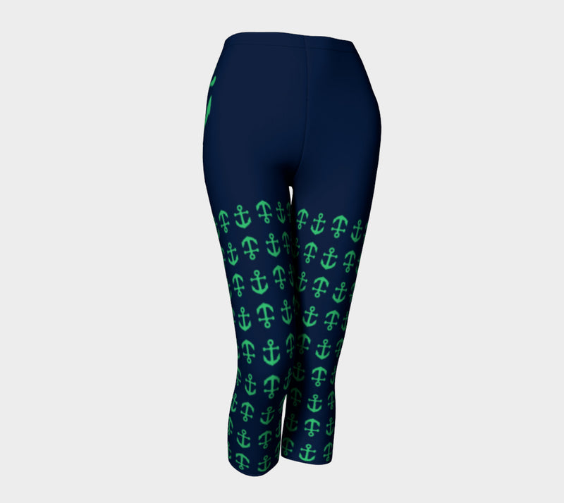 Anchor Legs and Hip Adult Capris - Green on Navy - SummerTies
