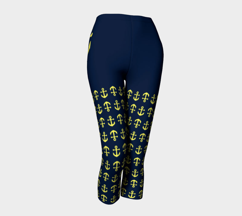 Anchor Legs and Hip Adult Capris - Yellow on Navy - SummerTies
