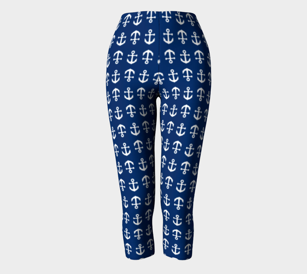 Anchor Toss Adult Capris - White on Navy - SummerTies
