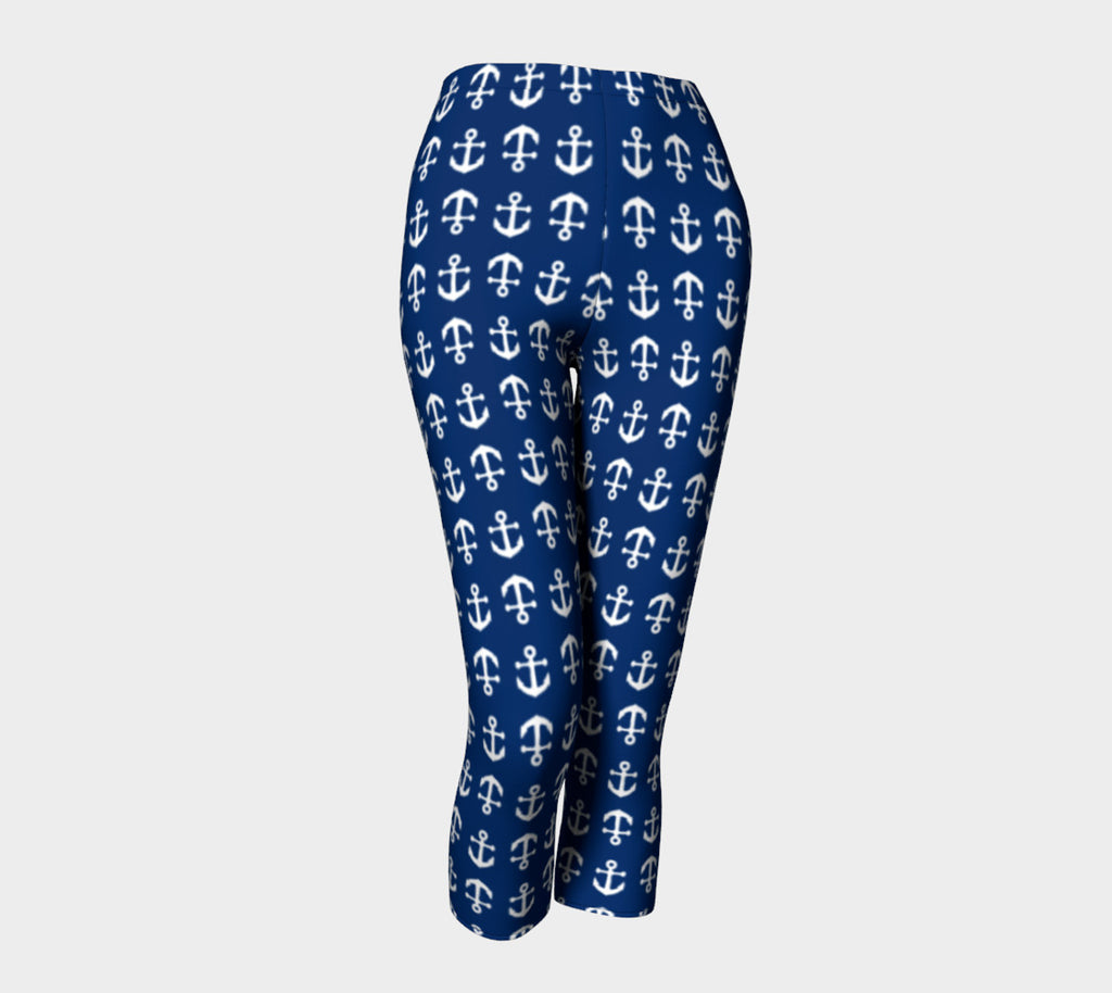 Anchor Toss Adult Capris - White on Navy