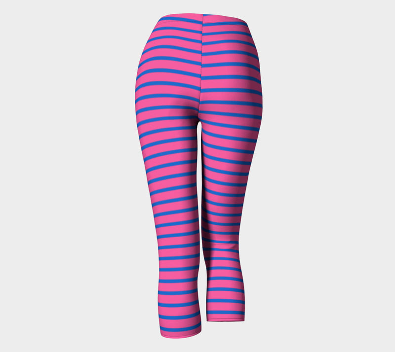 Striped Adult Capris - Blue on Pink - SummerTies