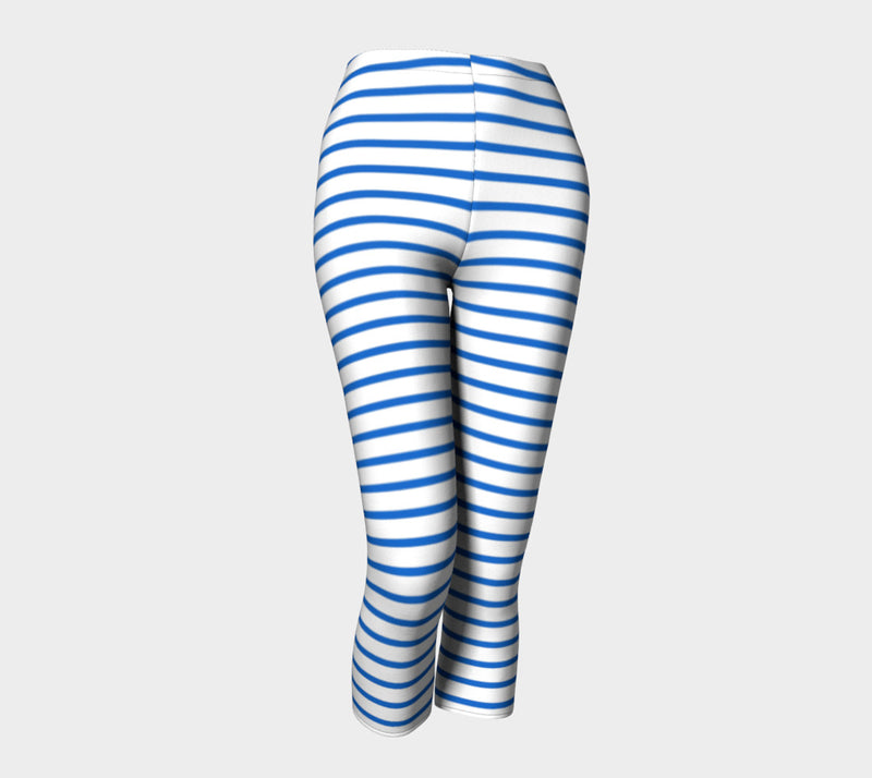 Striped Adult Capris - Blue on White - SummerTies