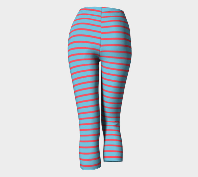 Striped Adult Capris - Darker Coral on Light Blue - SummerTies