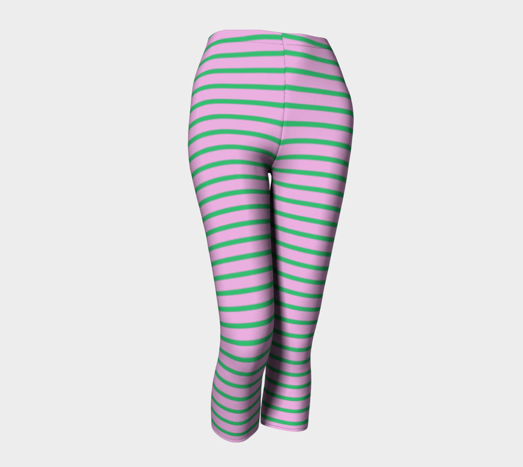Striped Adult Capris - Green on Light Pink