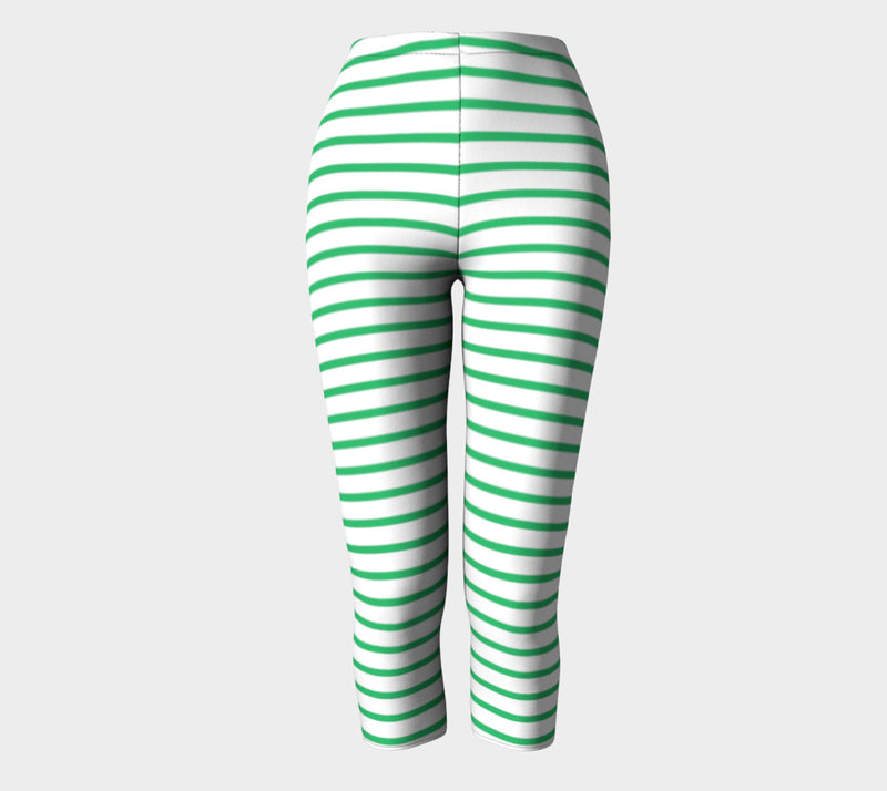 Striped Adult Capris - Green on White - SummerTies