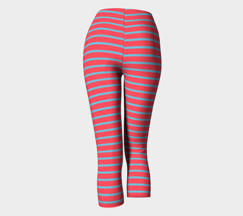 Striped Adult Capris - Light Blue on Darker Coral - SummerTies