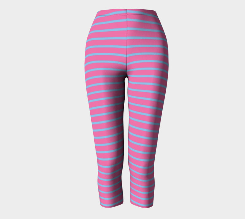 Striped Adult Capris - Light Blue on Pink - SummerTies