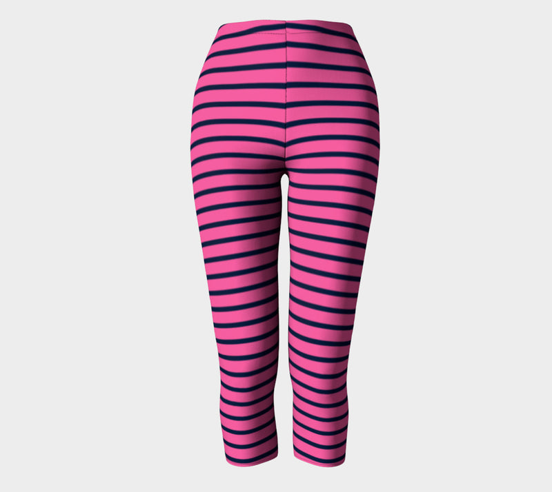 Striped Adult Capris - Navy on Pink