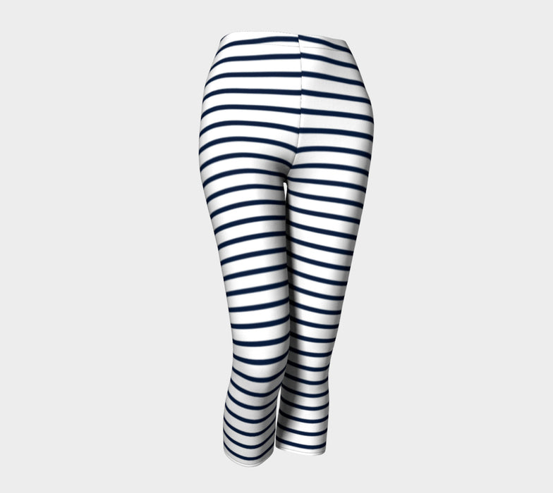 Striped Adult Capris - Navy on White