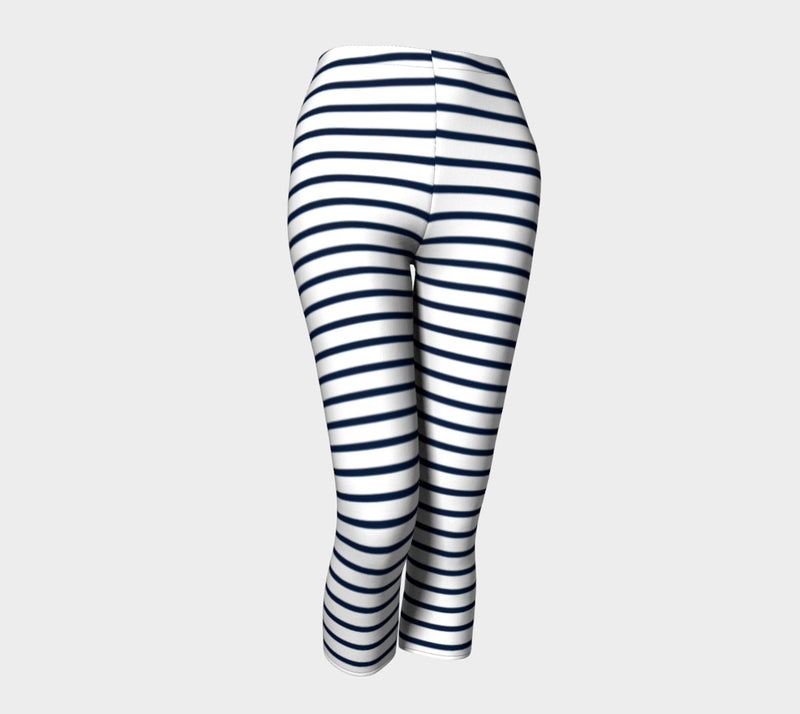 Striped Adult Capris - Navy on White - SummerTies