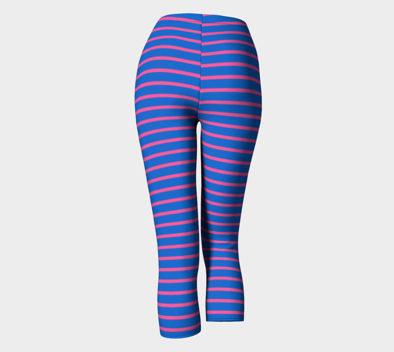 Striped Adult Capris - Pink on Blue - SummerTies