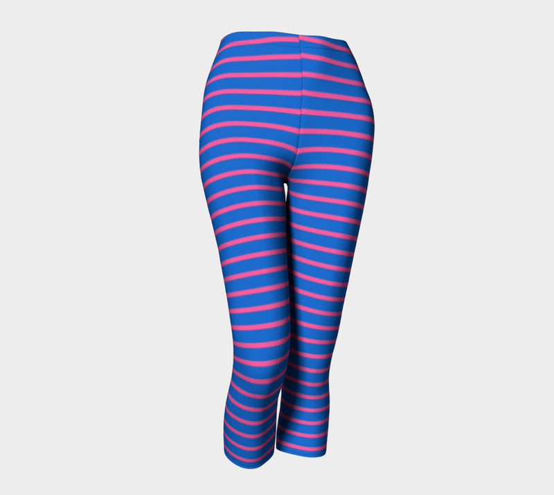 Striped Adult Capris - Pink on Blue