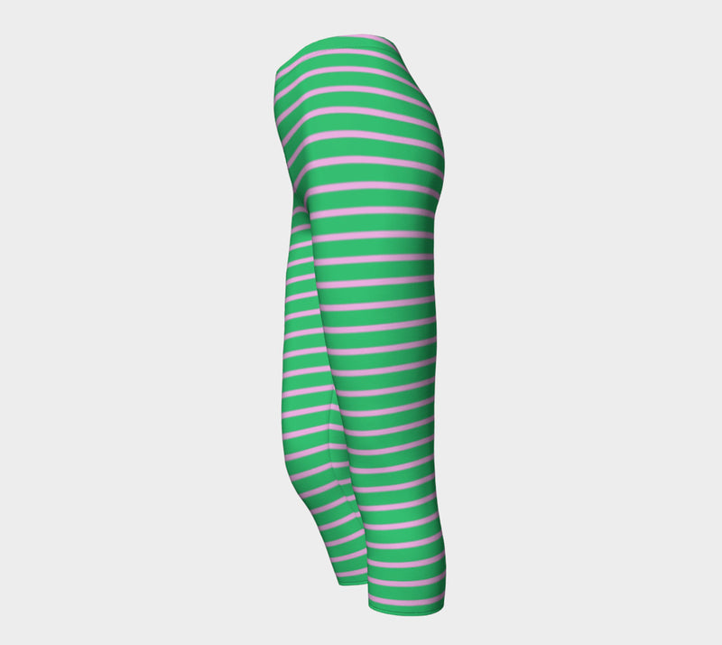 Striped Adult Capris - Light Pink on Green - SummerTies