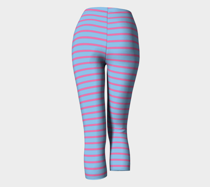 Striped Adult Capris - Pink on Light Blue - SummerTies