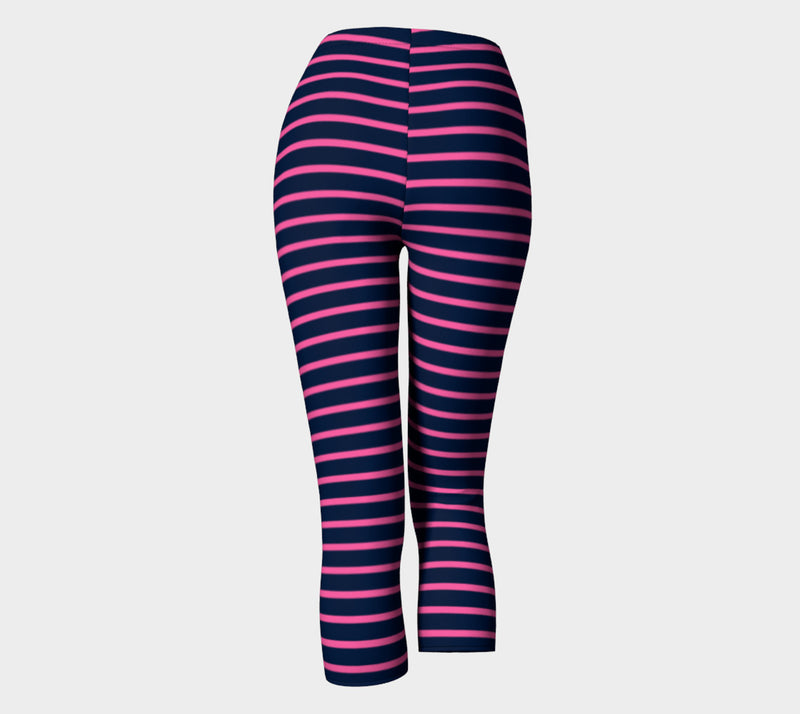 Striped Adult Capris - Pink on Navy