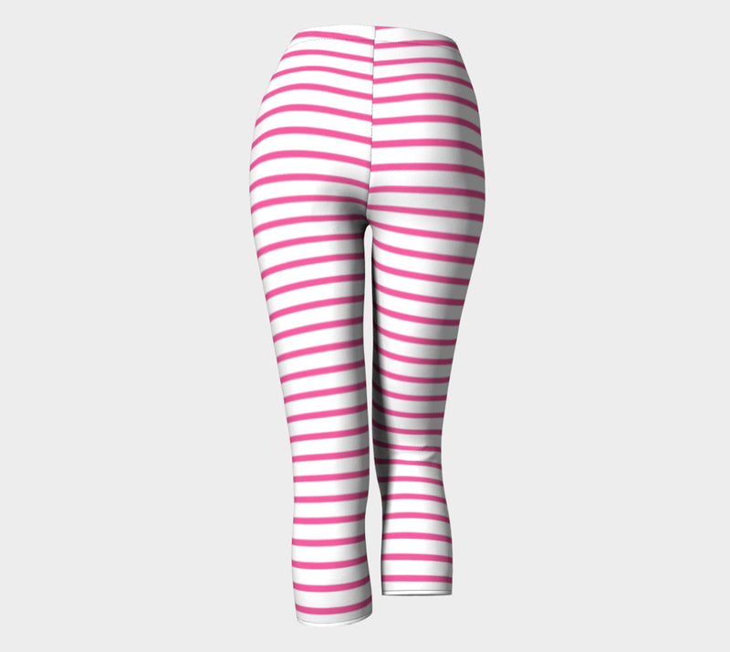 Striped Adult Capris - Pink on White - SummerTies