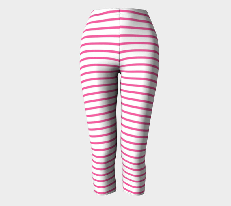 Striped Adult Capris - Pink on White