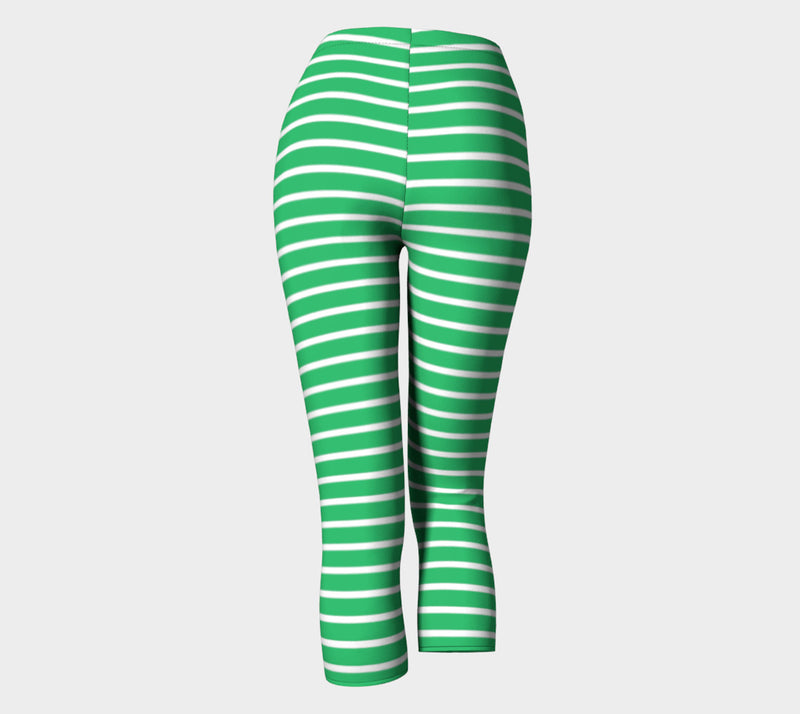 Striped Adult Capris - White on Green - SummerTies