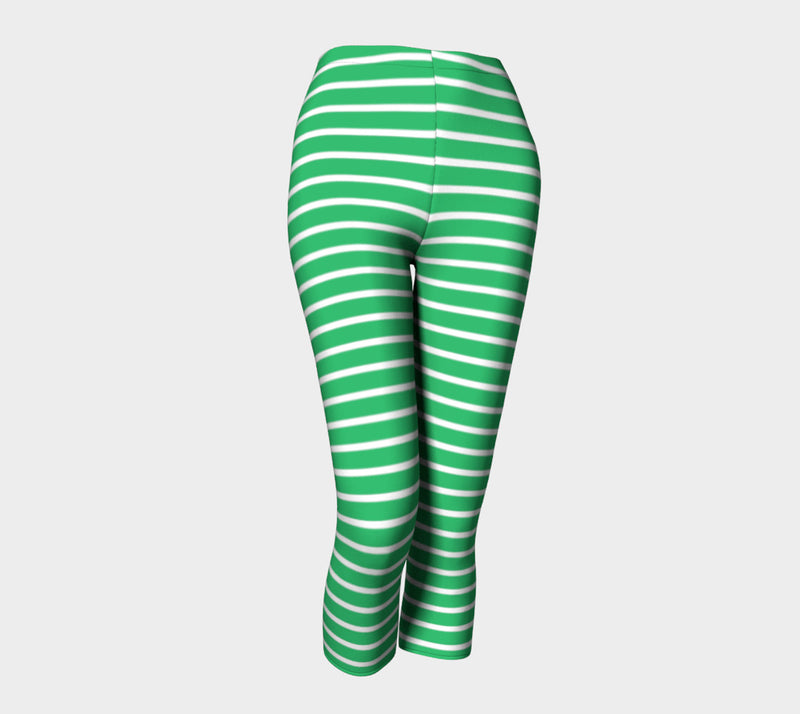 Striped Adult Capris - White on Green