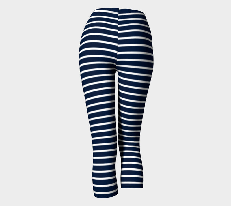 Striped Adult Capris - White on Navy - SummerTies