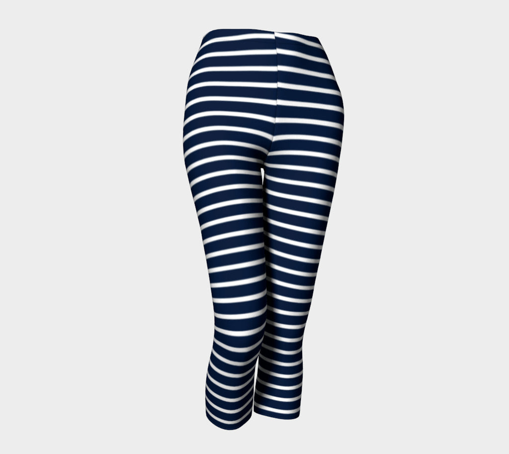 Striped Adult Capris - White on Navy